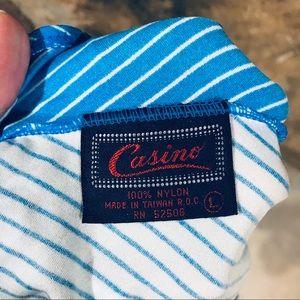 Vintage Swim - Vintage blue & white striped colorblock swimsuit